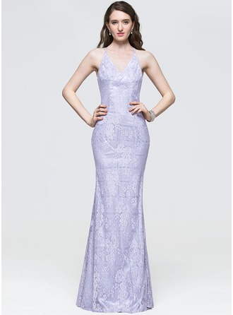 Sheath/Column V-neck Floor-Length Lace Prom Dress