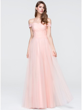 A-Line/Princess Off-the-Shoulder Floor-Length Tulle Prom Dress With Beading Sequins
