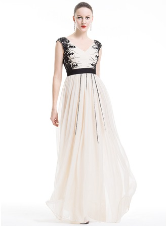 A-Line/Princess V-neck Floor-Length Chiffon Holiday Dress With Ruffle Lace Beading Appliques Lace