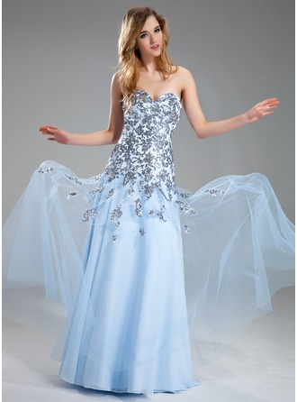 A-Line/Princess Sweetheart Floor-Length Satin Tulle Prom Dress With Appliques Sequins