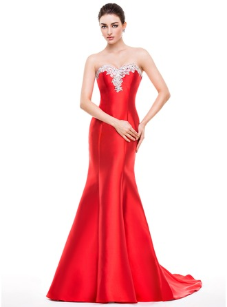 Trumpet/Mermaid Sweetheart Sweep Train Satin Tulle Prom Dress With Beading Appliques Lace Sequins
