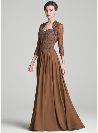 A-Line/Princess Sweetheart Sweep Train Mother of the Bride Dress With Beading Appliques Lace Sequins
