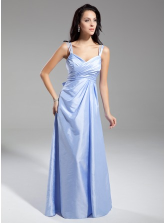 A-Line/Princess V-neck Floor-Length Taffeta Evening Dress With Ruffle Bow(s)