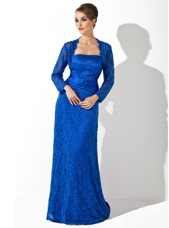 Sheath/Column Strapless Watteau Train Charmeuse Lace Mother of the Bride Dress With Beading Sequins Cascading Ruffles