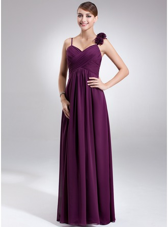 Empire Sweetheart Floor-Length Chiffon Chiffon Maternity Bridesmaid Dress With Ruffle Flower(s)