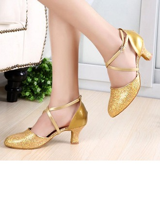 Women's Sparkling Glitter Patent Leather Heels Pumps Latin Jazz Practice Party Tango With Ankle Strap Dance Shoes