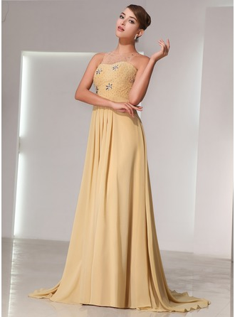 A-Line/Princess Scoop Neck Court Train Chiffon Holiday Dress With Beading