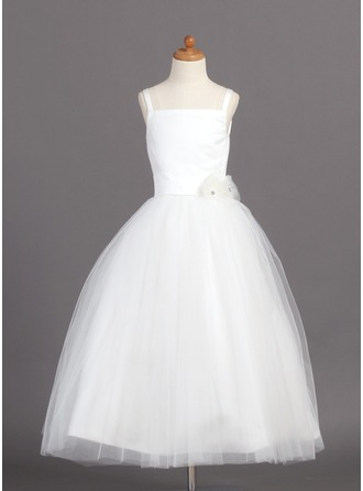 A-Line/Princess Satin/Tulle First Communion Dresses With Flower(s)