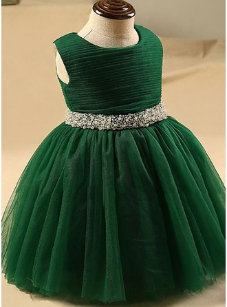Ball Gown Knee-length Flower Girl Dress - Tulle Sleeveless Scoop Neck With Beading