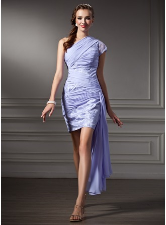 Sheath/Column One-Shoulder Short/Mini Chiffon Charmeuse Cocktail Dress With Ruffle Lace
