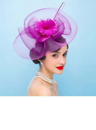 Dames Style Vintage Fil net avec Feather Chapeaux de type fascinator