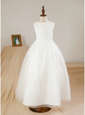 Ball Gown Ankle-length Flower Girl Dress - Satin/Tulle Sleeveless Scoop Neck With Beading/Appliques