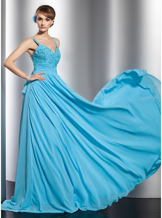 A-Line/Princess Sweetheart Watteau Train Chiffon Evening Dress With Beading Appliques Lace Sequins Cascading Ruffles