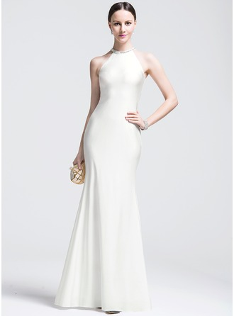 Trumpet/Mermaid Scoop Neck Floor-Length Jersey Evening Dress With Beading