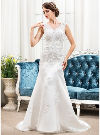 Trumpet/Mermaid V-neck Sweep Train Satin Lace Wedding Dress With Ruffle Beading Sequins