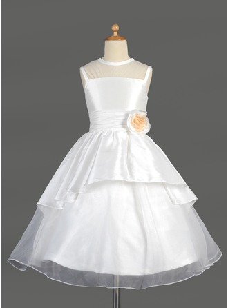 A-Line/Princess Taffeta/Organza First Communion Dresses With Flower(s)/Cascading Ruffles
