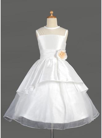 A-Line/Princess Scoop Neck Tea-Length Taffeta Flower Girl Dress With Flower(s) Cascading Ruffles