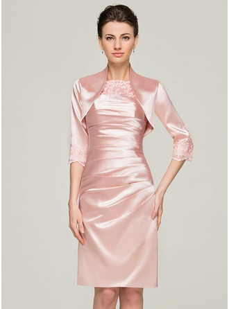 Sheath/Column Scoop Neck Knee-Length Charmeuse Mother of the Bride Dress With Ruffle