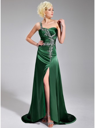A-Line/Princess One-Shoulder Sweep Train Charmeuse Prom Dress With Ruffle Beading Split Front