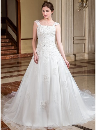 A-Line/Princess Square Neckline Cathedral Train Satin Organza Wedding Dress With Ruffle Lace Beading
