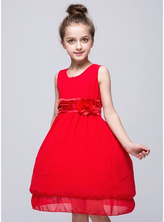 Princess Knee-length Flower Girl Dress - Chiffon Sleeveless Scoop Neck With Flower(s)