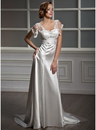 A-Line/Princess Sweetheart Watteau Train Charmeuse Tulle Wedding Dress With Lace Bow(s)
