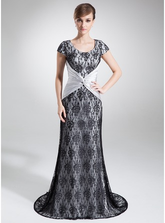 A-Line/Princess Scoop Neck Sweep Train Charmeuse Lace Mother of the Bride Dress With Ruffle