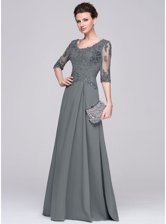 A-Line/Princess Scoop Neck Floor-Length Chiffon Tulle Mother of the Bride Dress With Ruffle Beading Appliques Lace Sequins