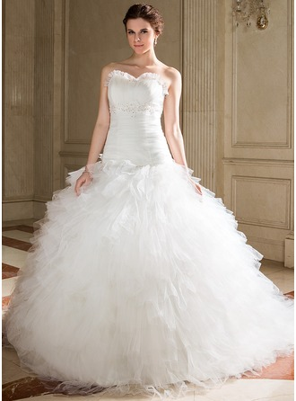 Ball-Gown Sweetheart Chapel Train Tulle Wedding Dress With Beading Appliques Lace Sequins Cascading Ruffles