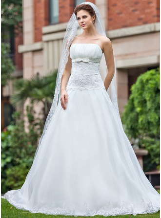 Ball-Gown Strapless Cathedral Train Organza Satin Wedding Dress With Ruffle Lace Beading Bow(s)