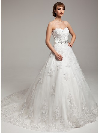 Ball-Gown Sweetheart Chapel Train Organza Charmeuse Wedding Dress With Lace Beading Bow(s)