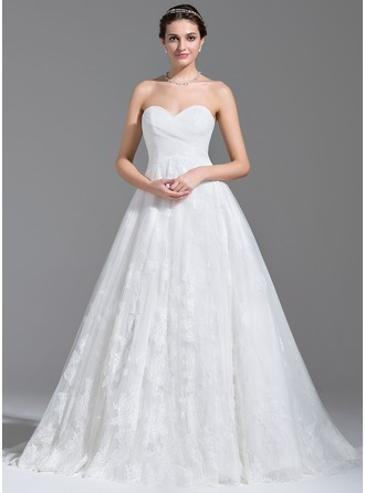 Ball-Gown Sweetheart Court Train Tulle Lace Wedding Dress With Ruffle