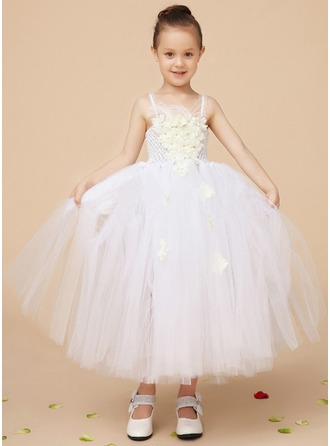A-Line/Princess Square Neckline Ankle-Length Tulle Flower Girl Dress With Beading Feather Flower(s) Sequins