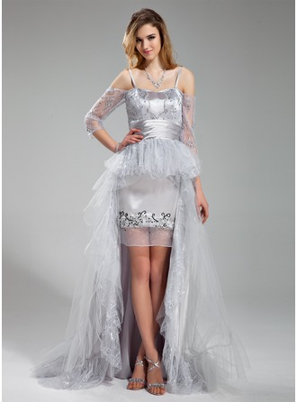 A-Line/Princess Sweetheart Asymmetrical Detachable Tulle Charmeuse Lace Prom Dress With Beading Sequins