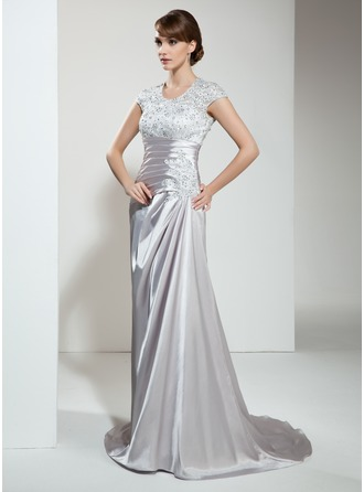 A-Line/Princess Scoop Neck Court Train Charmeuse Lace Mother of the Bride Dress With Ruffle Beading Sequins