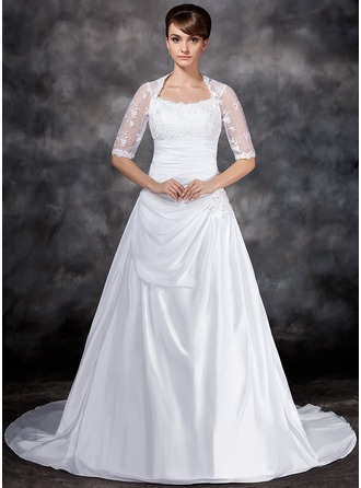 A-Line/Princess Scoop Neck Court Train Taffeta Tulle Wedding Dress With Ruffle Lace