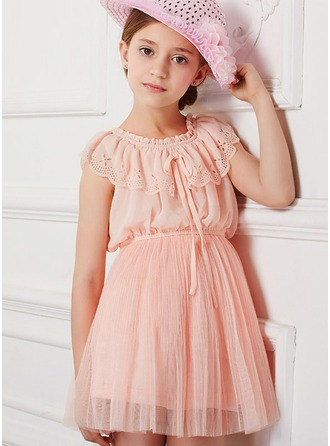 A-Line/Princess Short/Mini Flower Girl Dress - Polyester/Cotton Sleeveless Scoop Neck With Ruffles