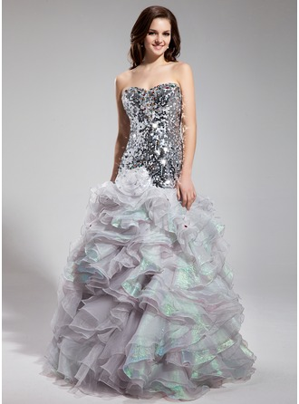 Trumpet/Mermaid Sweetheart Floor-Length Organza Sequined Prom Dress With Beading Cascading Ruffles