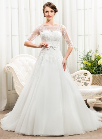 A-Line/Princess Off-the-Shoulder Chapel Train Satin Tulle Lace Wedding Dress With Beading Sequins Bow(s)