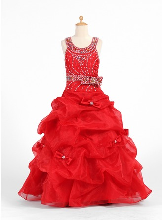 A-Line/Princess Scoop Neck Floor-Length Organza Charmeuse Flower Girl Dress With Beading Bow(s) Cascading Ruffles