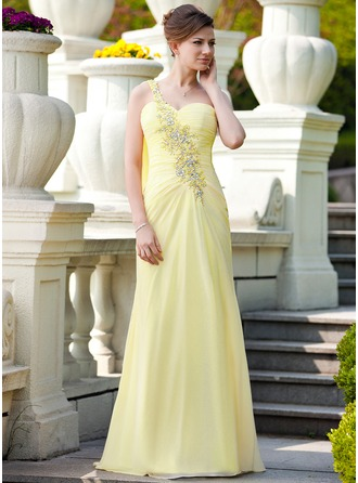 A-Line/Princess One-Shoulder Sweep Train Chiffon Mother of the Bride Dress With Ruffle Lace Beading