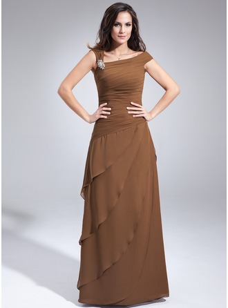 A-Line/Princess Off-the-Shoulder Floor-Length Chiffon Mother of the Bride Dress With Beading Cascading Ruffles