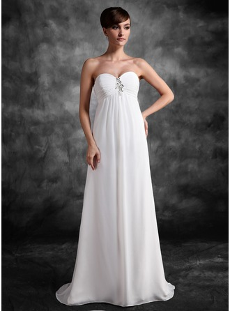 Empire Sweetheart Sweep Train Chiffon Chiffon Maternity Bridesmaid Dress With Ruffle Lace Beading Sequins