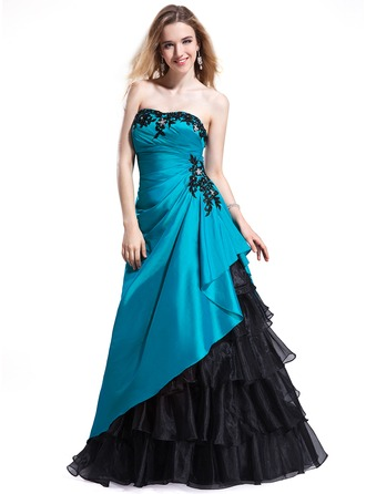 A-Line/Princess Sweetheart Floor-Length Taffeta Organza Prom Dress With Beading Appliques Lace Cascading Ruffles