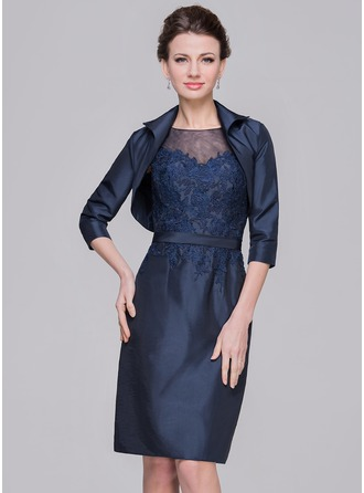 Sheath/Column Scoop Neck Knee-Length Taffeta Tulle Mother of the Bride Dress With Appliques Lace