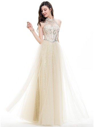 A-Line/Princess Halter Floor-Length Tulle Prom Dress With Beading Sequins