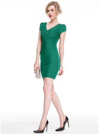 Sheath/Column V-neck Short/Mini Jersey Cocktail Dress With Ruffle