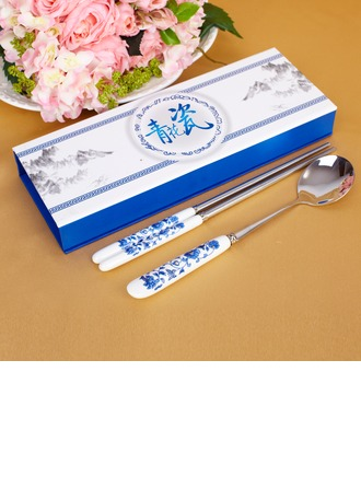 Blue-and-white Ceramics Design Stainless Steel Spoon and Chopsticks Set