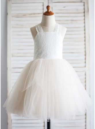 A-Line/Princess Knee-length Flower Girl Dress - Tulle/Cotton Straps With Bow(s)