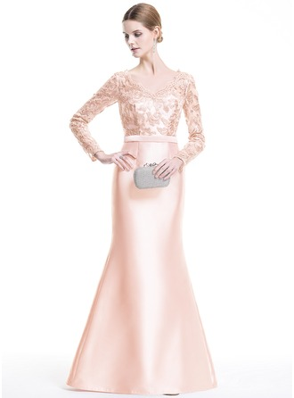 Trumpet/Mermaid V-neck Floor-Length Satin Lace Evening Dress With Sequins